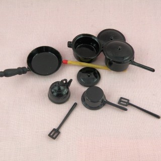 Doll miniature silver stovetop cookware Set