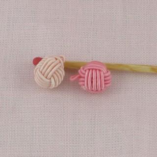 Bouton boule perle tressée 1 cm.