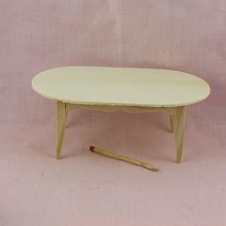 Table ovale meuble miniature maison de poupée , bois brut