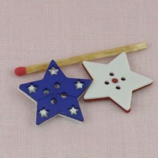 Bouton étoile plat deux trous 25 mm.