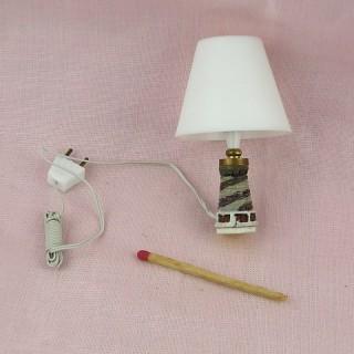 Lampe miniature 1/12 à poser électrifiée maison de poupée.
