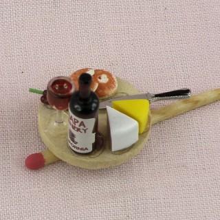 Plateau fromage vin miniature maison poupée