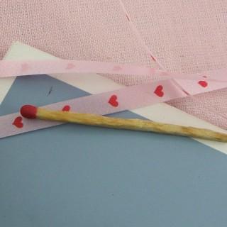 Ruban intissé bolduc rose a coeurs 2 cm.