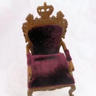 Fauteuil miniature velours maison de poupée