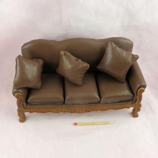 Sofa cuir salon miniature maison poupée