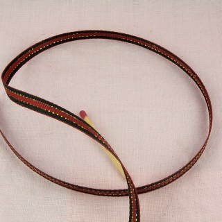 Ruban metalisé rouge et or 4 mm
