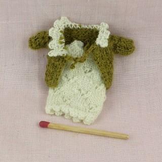 Robe et pull pour poupée habits miniatures poupée maison 1/12eme
