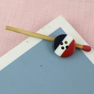 Bouton mercerie bleu blanc rouge 1 cm.