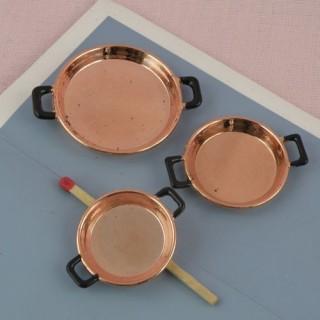 Lot de 3 plats deux anses en cuivre miniature 1/12 maison poupée