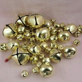 43 Grelots dorés brillants tailles assorties