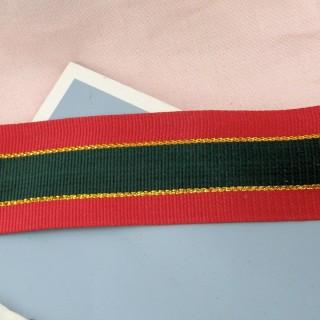 Gros-grain vert rouge et or 4 cm au mètre