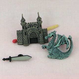 Boutons chevalier dragon chateau