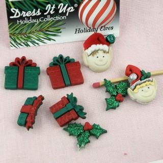 Boutons fantaisie elfs Noël lutins