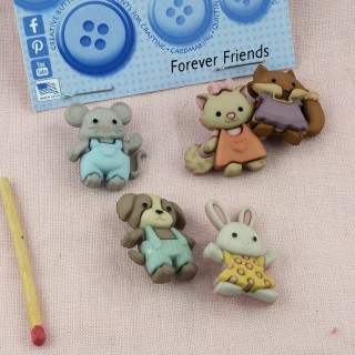 Boutons doudou Animaux amis  Dress it up