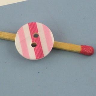 Bouton rond deux trous rayé rose 12 mm