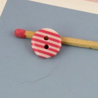 Botón redondo dos hoyos rayado rosa 12 mm