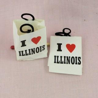 Paper bag miniature 3 cms for dollhouse