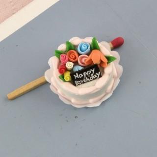Gâteau anniversaire miniature maison poupée,