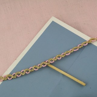 Galon rose et or style Chanel 6 mm