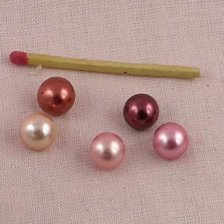 Boutons perle nacrée boule 1 cm.