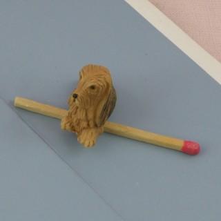 Chien Cocker miniature maison poupée, 2 cm.