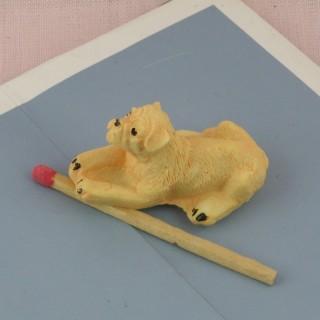 Perro Labrador miniatura casa muñeca, 2 cm.