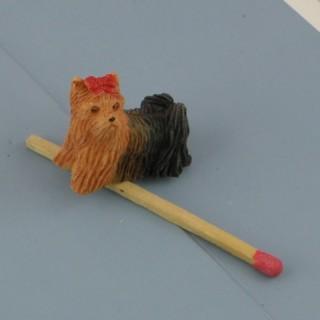Chien Yorkshire miniature maison poupée, 2 cm.