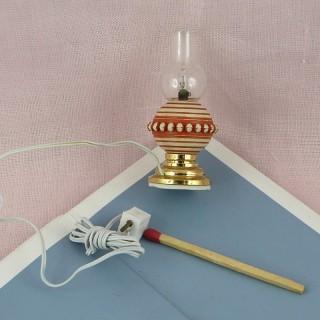 Lampe miniature boule électrifiée maison poupée,