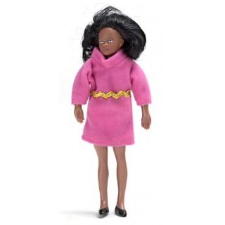 Poupée miniature 1/12 femme noire 14 cm