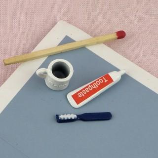 Dentifrice, brosse à dents miniature maison poupée