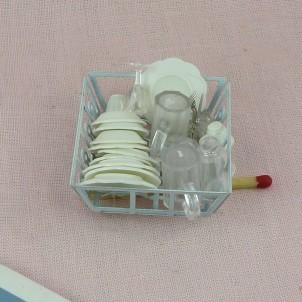 Egouttoir avecvaisselle miniature maison poupée 4 cm