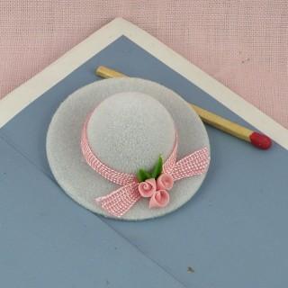 Chapeau dame miniature 1/12 maison poupée,