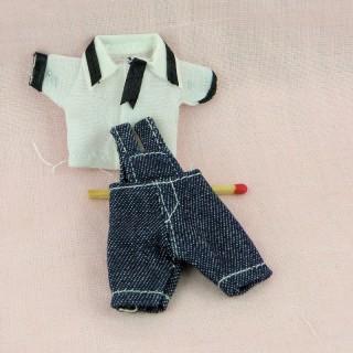 Hemd und Hose Miniaturgewänder Puppe 1/12ème