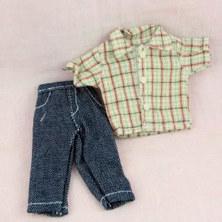 Camisa y Pantalones ropas miniatura muñeca 1/12ème