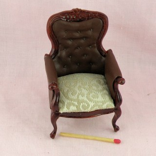 Fauteuil cuir miniature maison poupée