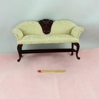 Canapé acajou miniature maison poupée