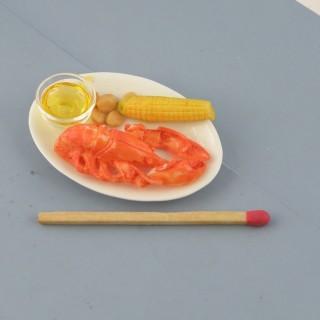 Langouste homard miniature maison poupée