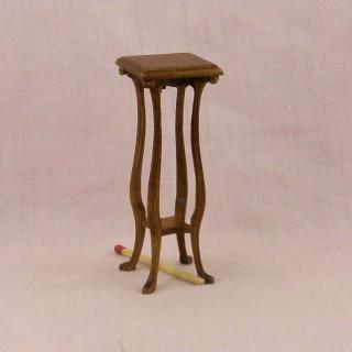 Table haute noyer miniature maison poupée,