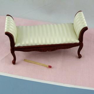 Canapé banquette Empire meuble miniature maison poupée ,