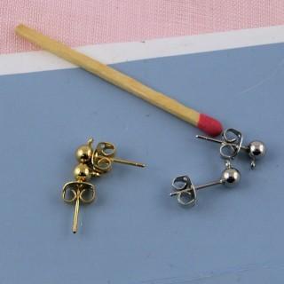 Boucles oreilles clou à boule avec anneau 5 mm