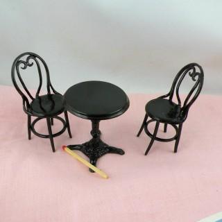 Chaises et table fer bistrot miniature 1/12 maison de poupée
