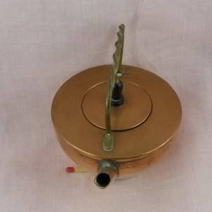 Bouilloire ancienne en cuivre 7 cm pour dînette poupée