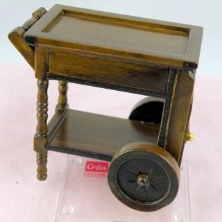 Table roulante miniature 1/12 maison poupée,