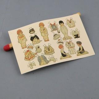 Muñecas en papel que debe recortarse miniatura casa muñeca,