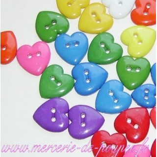 Buttons, Heart, bright colors 2cm