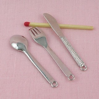 Charms, doll cuttlery: Fork, knife spoon 5cm