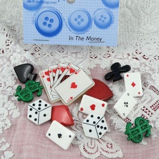 Bouton Jeu cartes dés poker Dress it up,