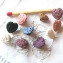 Buttons, shank Heart engraved with flowers, 11 mms