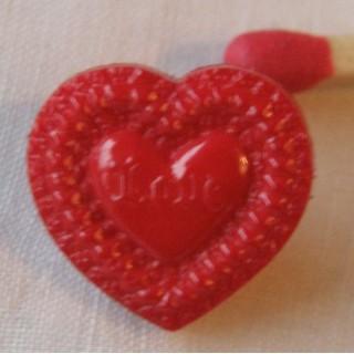 Shank Heart Button engraved heart, 11 mms