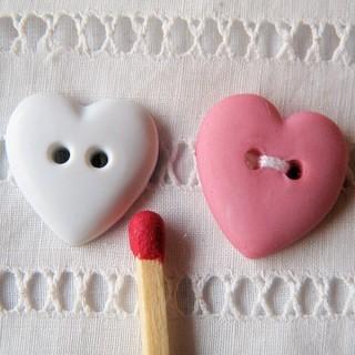 Buttons, Heart, bright colors 2cm